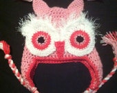 Pink Owl Hat - (for immediate shipping) FREE Shipping Australia/NZ