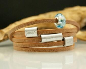 Personalized engraved leather bracelet,valentine jewelry, bracelet with names, module bracelet, module beads - MY LIFE
