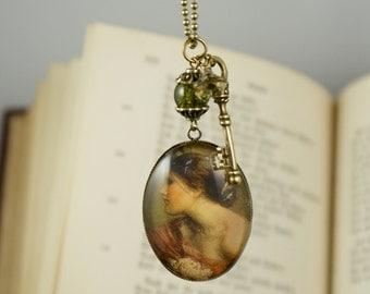 SPRINGTIME, Glas Cabochon Vintage Necklace, Romantic, Nostalgic, Victorian Jewelry, Brass