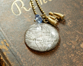 AFRICA, Vintage Glass Cabochon Necklace, Historical Map, World Travel,Globetrotter,Glass domed Cabochon,Steampunk