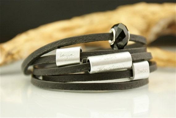 Personalized engraved leather bracelet,valentine jewelry, bracelet with names, module bracelet, module beads,black - MY LIFE