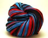 "Sock Yarn: Blue Red and Black stripes - ""Spiderman Feet"""