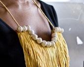 Gold Fringe Bib Necklace