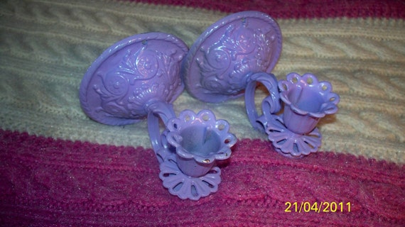 Vintage wall sconces beautiful lavender made of white metal candle holders