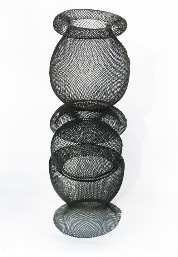 powder coated steel wire mesh sculptural vessel