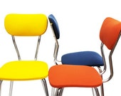 3 dining chairs - yellow / blue / coral - steel base