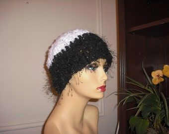 Sofisticated Girl, Sparkling, Shimmering  Black and White Beanie, for Women and Teens