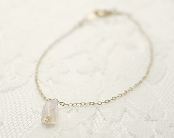 Thin gold bracelet - clear pink opalite on 14K gold filled- simple delicate jewelry