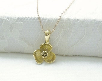 Gold flower necklace - pendant charm on gold filled chain - simple dainty jewelry