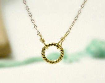 Eternity - Gold circle necklace- twist ring gold filled chain- dainty minimal jewelry