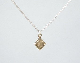 Tiny gold diamond necklace- tiny diamond charm on 14K gold filled chain- delicate dainty jewelry