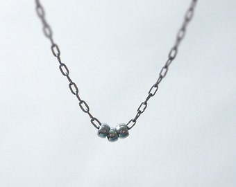 Tiny black necklace - simple gunmetal necklace - simple modern jewelry