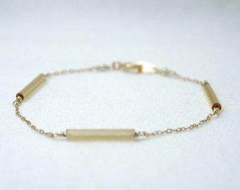 Gold bar bracelet - thin gold beads on gold filled chain - dainty delicate jewelry