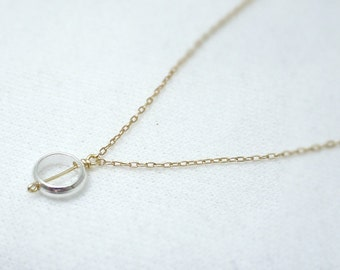 Tiny silver circle ring necklace - gold filled chain - modern dainty jewelry