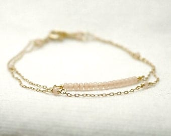 Double strand beaded bar bracelet - baby pink beads on gold filled - dainty jewelry