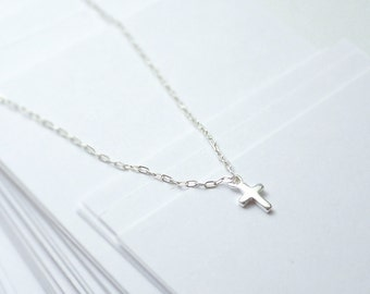 Tiny silver cross necklace - small cross necklace - sterling silver - dainty delicate