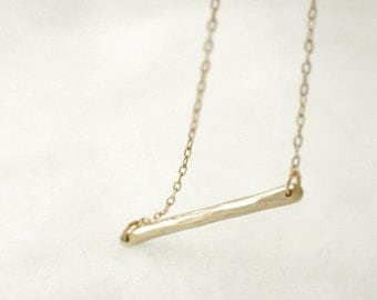 Gold bar necklace - horizontal - hammered bronze on gold filled chain - minimal modern jewelry