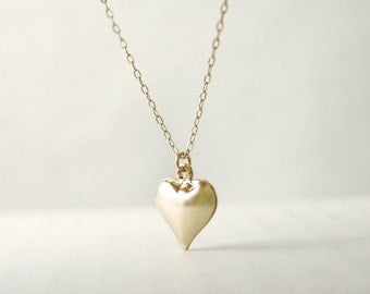 Gold heart necklace - puffy heart charm on gold filled - minimal sweet jewelry