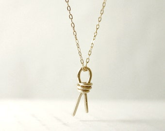 Gold knot necklace - brass on gold filled chain - forever dainty jewelry