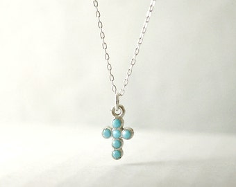 Turquoise cross necklace - tiny silver cross on sterling silver - delicate dainty jewelry