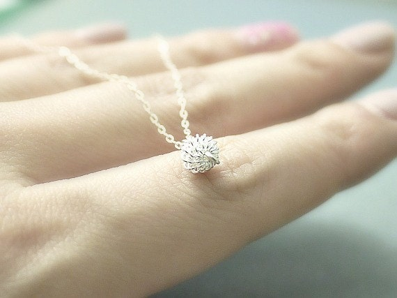 Tiny silver charm necklace- silver charm on sterling silver chain- minimal, dainty jewelry