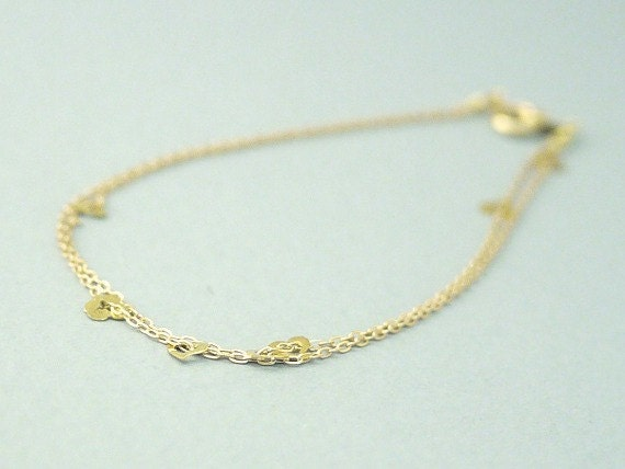 Tiny gold heart bracelet- gold heart confetti on gold filled- simple jewelry