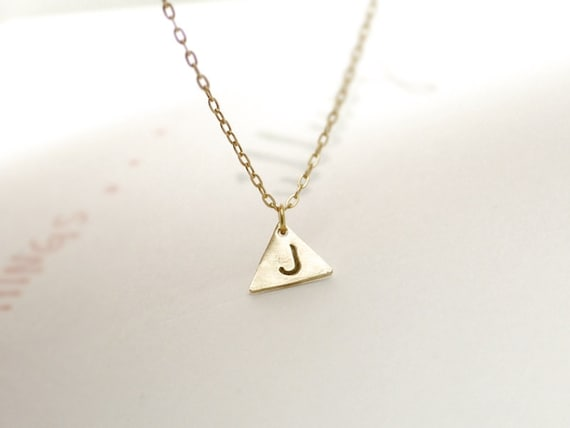 Gold triangle necklace - geometric initial charm  - personalized, hand stamped