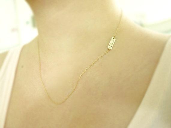 Initial tag necklace - personalized sideways or center - customized dainty jewelry