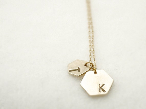 Hand stamped initial necklace - hexagon personalized on gold filled - geometric simple jewelry
