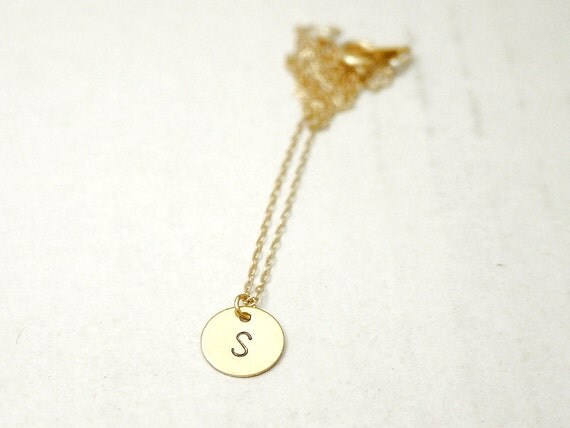 Gold initial circle necklace - dainty delicate personalized charm - gold filled chain