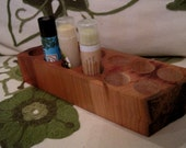 Natural Rustic Cherry Wood Lip Balm Chapstick Wooden Bathroom Vanity or Spa Display Holder Large