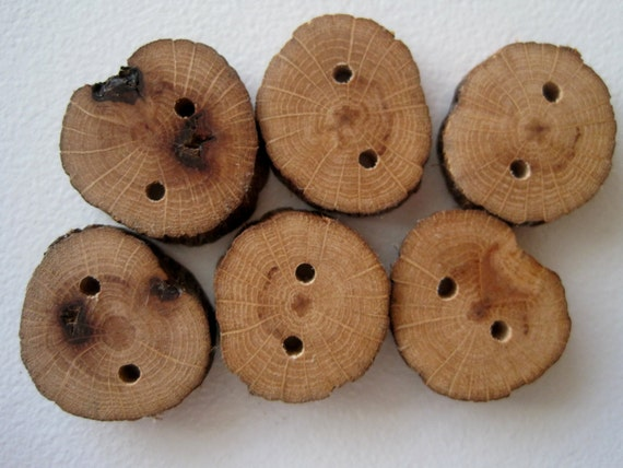 Red Oak Wooden Buttons Nature Inspired Wood Tree Branch Buttons for Knitting, Crochet, Journals, Totes and Clothing (Set of 6)