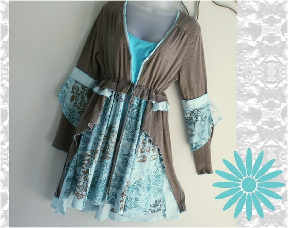 Women's unique, handmade, upcycled, recycled, boho chic top, jacket, dress, blue and brown