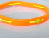 Neon orange rubber band bracelet, yellow waxed cord, yellow acrylic beads