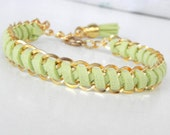 Gold double chain, light green suede cord