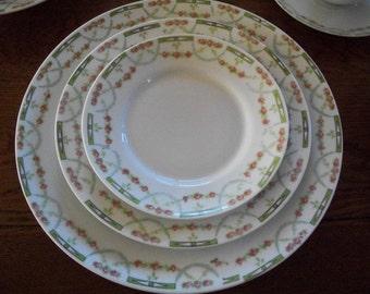 "AUSTRIAN Huge CHINA SET  Stunning  Dinner Table Rose Garland -Austrian Imperial Crown ""Carlsbad"" Vintage China Set- Rose Garland pattern -"