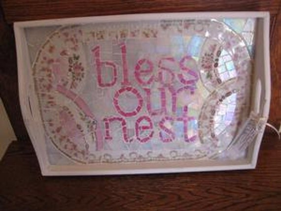 """Broken China Mosaics - Vintage China Mosaic Wood Tray """"Bless Our Nest""""- Broken China Mosaic - Pink Floral Vintage China"""
