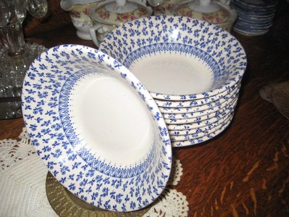 Provence Blue - Vintage English Ironstone Coupe Cereal Bowls (10) Beautiful  Tiny Blue Chintz Flowers