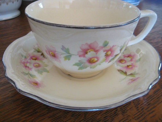 """Homer Laughlin """"Virginia Rose"""" Cups and Saucers -2 sets Available - Cream with Pink and White Flowers Shabby Cottage"""