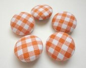 Fabric covered buttons, Orange gingham
