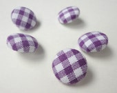 Fabric Covered Buttons, Purple Gingham