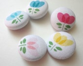 Fabric covered buttons, flowers