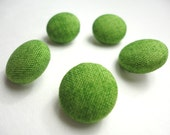 Green Fabric covered buttons 5/8 inch