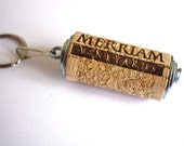 Merriam Wine Cork keychain Cork Accessories - recycled upcycled industrial - zipper pull, fob, key chain, keyring