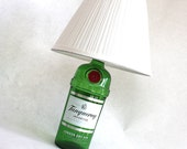 Tanqueray gin liquor bottle lamp light recyled upcycled eco friendly table lamp repurposed