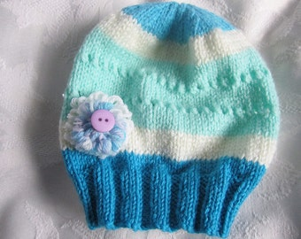 Knitted baby hat, newborn  baby girl's hat, Yarnawayknits.multi coloured baby hat, baby hat with flower, uk seller