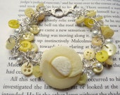 Yellow Button Bracelet with Crystals and Pearls