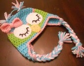 Crochet Sleeping Owl Earflap Hat with Bow
