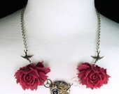 Steampunk - Swallow Red Rose & Cog Vintage Watch Movement Necklace