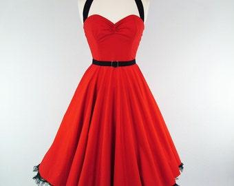 Made To Measure Red Full Circle Skirt Dress - Detachable Straps & Belt